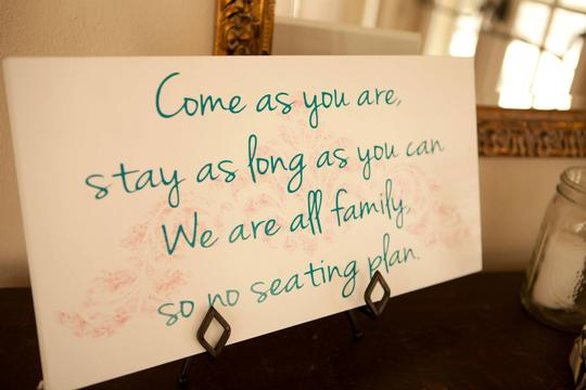 White Blue and Pink Hand Painted Open Sign Reception Decoration