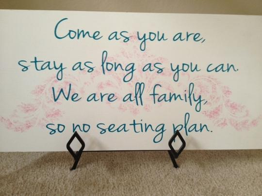 White Blue and Pink Hand Painted Open Seating Sign Reception Decoration