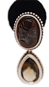 Stephen Yearick STEPHEN DWECK Sterling Silver 925 Earrings w/Sard Intaglio & Topaz Stones CLIP