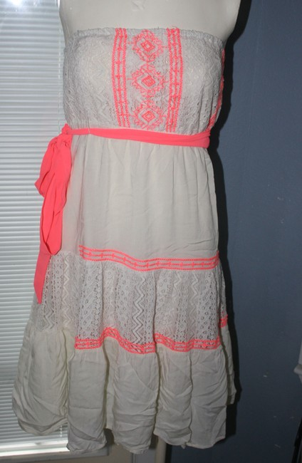 Flying Tomato short dress BEIGE and NEON ORANGE ACCENT on Tradesy