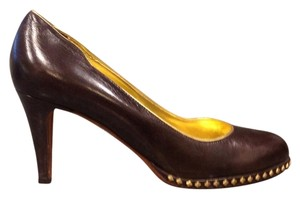 DKNY Dark Brown And Gold Pumps