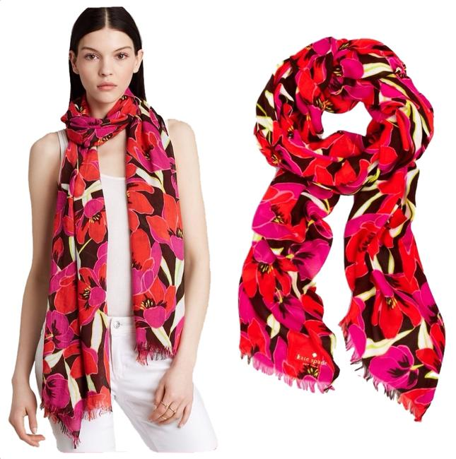 Item - Rio Pink Red Beige Cream Brown Tropical Floral Scarf/Wrap