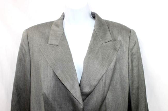 Escada ESCADA BY MARGARETHA LEY SILVERTONE BUTTONS WOOL BLEND GRAY SKIRT SUIT 42 44