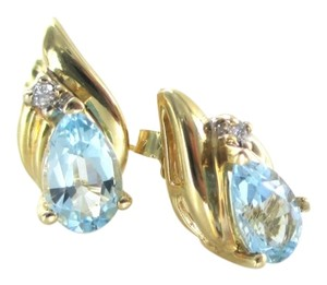 Other 14KT YELLOW GOLD EARRINGS 2 DIAMONDS .04 CARAT 2 BLUE TOPAZ PEAR SHAPE JEWELRY