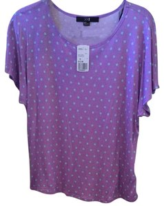 Forever 21 Polka Dot Casual T Shirt Light Purple