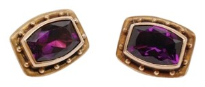 Stephen Yearick Stephen Dweck Petite TV Cut Amethyst Gemstone/Bronze Clip Earrings