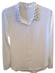 Forever 21 Chiffon Studded Gold Longsleeve Button Down Shirt White
