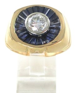 18KT SOLID YELLOW GOLD 1 DIAMOND 1 CARAT 21 BLUE SAPPHIRES 21.3 GR RING SZ 9.5