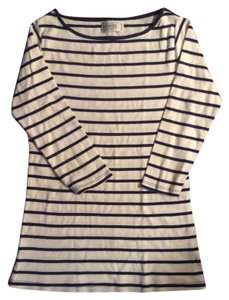 Zara T Shirt White & Blue Stripes