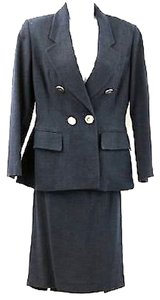 Gianfranco Ferre GIANFRANCO FERRE DOUBLE BREASTED NAVY WOVEN SKIRT SUIT 44 *** MADE IN ITALY