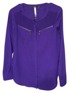Kensie Button Down Shirt Purple