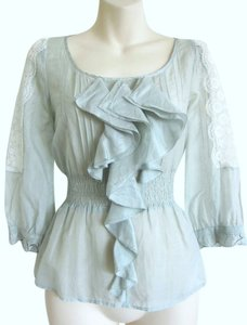 Anthropologie Sheer Romantic Babydoll Ruffles Peplum Top blue