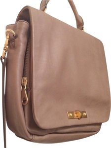 Marc by Marc Jacobs New York Leather Laptop Taupe Leather Top Handle Neutral Compartments Pockets Cross Body Bag