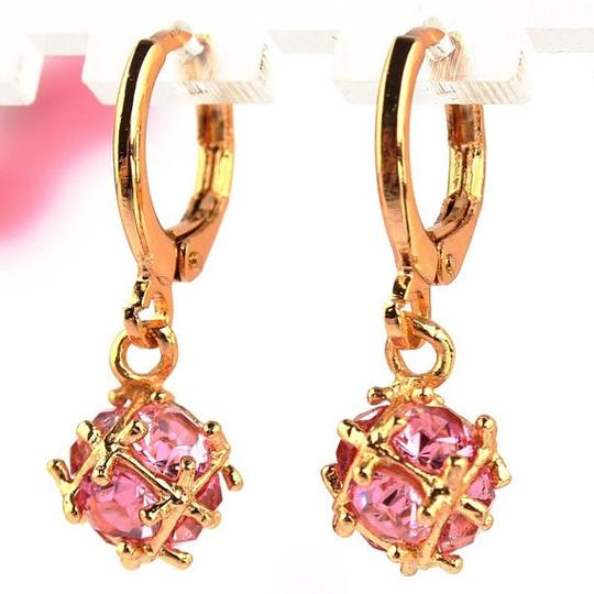 Pink 18k Yellow Gold Filled Zircon Dangle Cubic Zirconia Red Green Crystal Earrings
