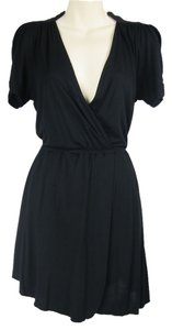 Free People short dress black Greek Grecian Mandarin Collar Lbd Mini Soft Rayon Wrap on Tradesy