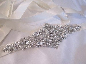 Wedding Sash Crystal Belt Vintage Art Deco Inspired Brooch