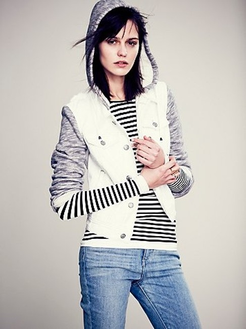 Free People White & Gray Womens Jean Jacket