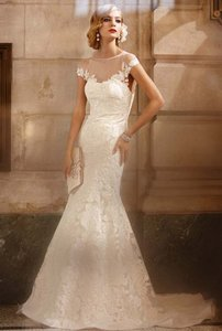 David's Bridal Galina Signature Ivory Cap Sleeve Illusion Fit Wedding Dress Swg561 Bn Wedding Dress