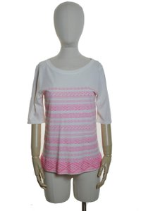 J.Crew Embroidered Neon Pink T Shirt Cream, Pink