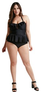 Forever 21 Forever 21+ Plus Black Ruffled Removable Halter One-Piece Swimsuit 2X