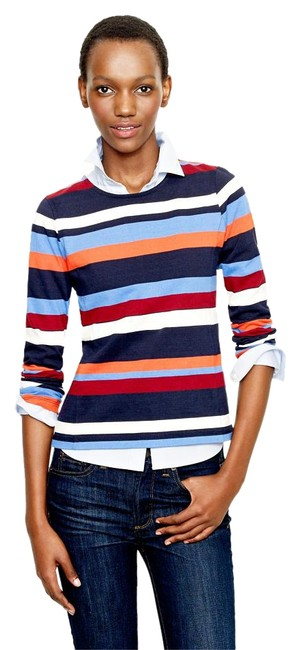 J.Crew Striped Cotton Long Sleeve Knit T Shirt Multi-color