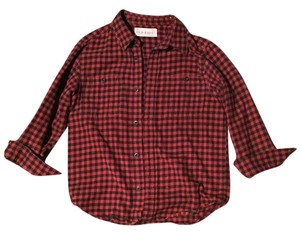 Old Navy Flannel Button Down Shirt Red and Black Plaid