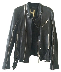 Hogan Leather Biker Lambskin Motorcycle Jacket