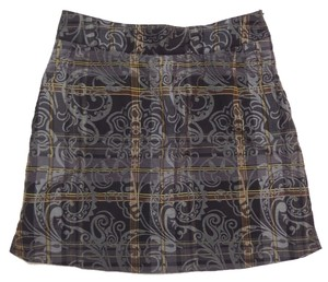 Bugatchi Skort Black, Gray and Brown Geometric Print