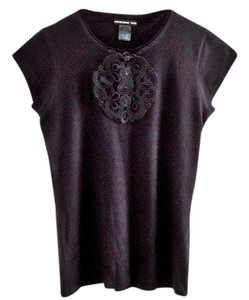 Vivienne Tam Lace Trim Embellished T Shirt black