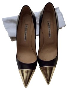 Manolo Blahnik Black/gold Pumps