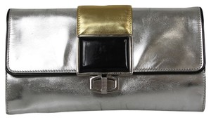Balenciaga Metallic Flap Top Turn Lock Leather Metallic Silver Clutch