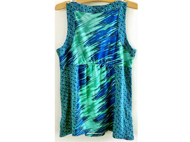 DKNY Flowy Embellished Top green-blue