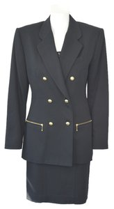 GEORGE MARCIANO GEORGES MARCIANO DESIGNER BLACK WOOL SKIRT SUIT SIZE 8/10 ON SALE SK