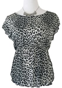 Animal Print Top Black/White