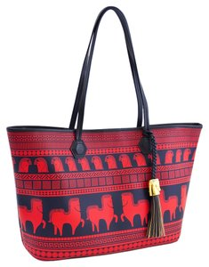 Jonathan Adler Horse Greek Deco Retro Red Monogram Canvas Goyard Tote