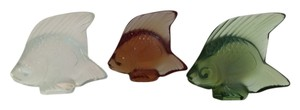 Lalique Lalique France Signed 'Poisson' Fish Sculptures Trio