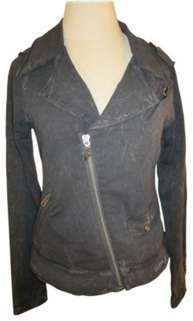 Preload https://item2.tradesy.com/images/guess-black-with-distressed-print-moto-style-zip-up-w-embellishment-sweatshirthoodie-size-12-l-32046-0-0.jpg?width=400&height=650