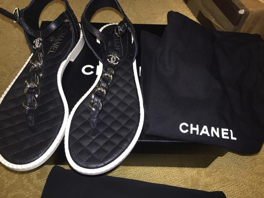 Chanel Black And White Sandals