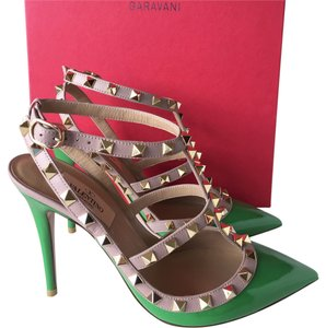 Valentino Stiletto Rockstuds Rockstud Rock Studs Studded Studs Patent Patent Leather Leather Slingback Luxury Green Pumps