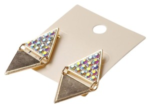 Iridescent Rhinestones Triangle Earrings NWT