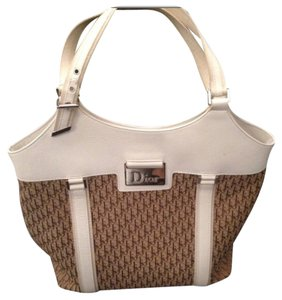 Dior Christian Logo Tote in Cream