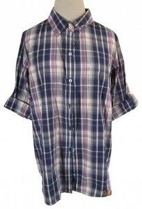 Trovata Button Down Shirt Navy/Fuchsia/Cream Plaid