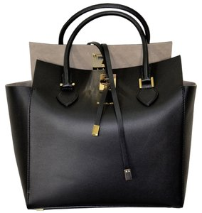 Michael Kors Face Large Flap Leather Suedeinterior Tote in Black