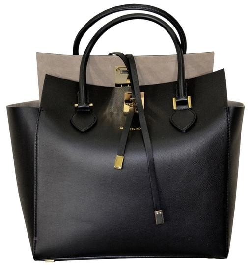 Michael Kors Large Flap Leather Suedeinterior Tote in Black