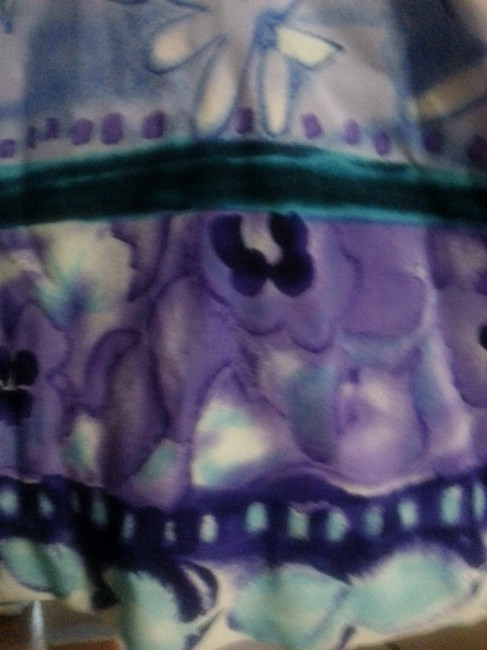 lavender, teal, navy, purple on white Maxi Dress by Other