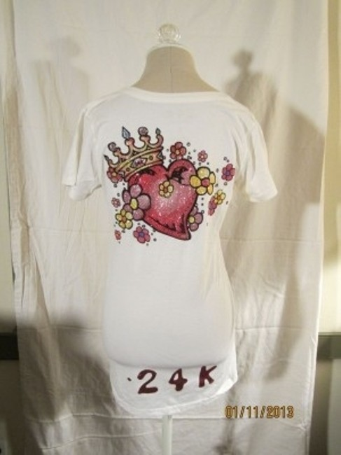 24K Hollywood T Shirt Cream with Embellishment