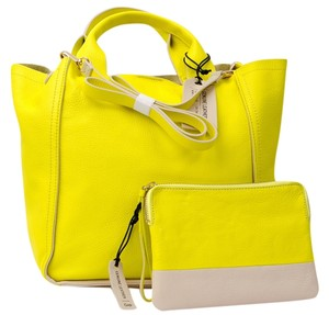 Gap Leather Pouch Set Neon Tote in Yellow