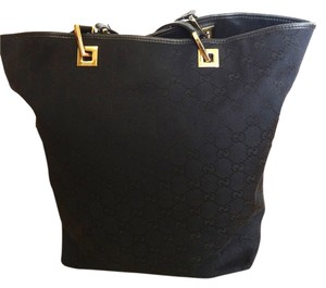 Gucci Monogram Shoulder Tote in Black