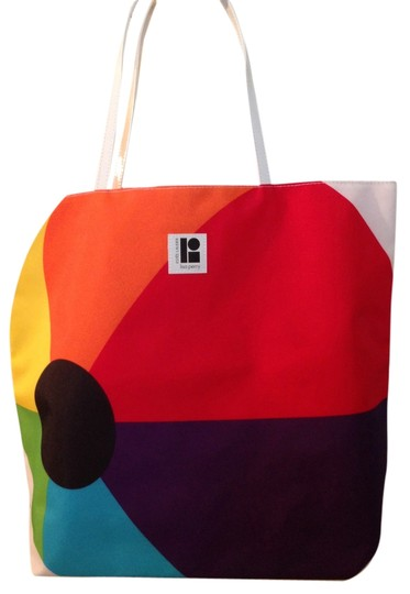 "Estée Lauder 7"" Drop Handle Waterproof Tote in Colorblock - red, orange, yellow, purple, black, white"