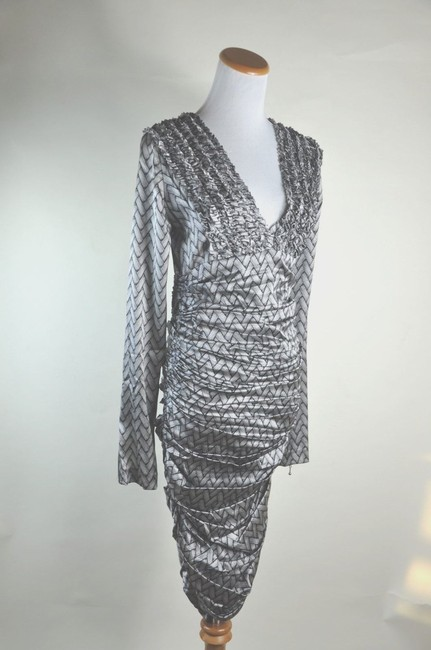 Thomas Wylde Silk Backless Black White Braided Woven Print Wiggle Draped Dress
